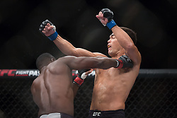 October 29, 2017 - Sao Paulo, Brazil - LYOTO MACHIDA (in black) and DEREK BRUNSON fight in the octagon, during UFC Fight Night Sao Paulo at Ibirapuera Gymnasium in Sao Paulo, Brazil. (Credit Image: © Paulo Lopes via ZUMA Wire)