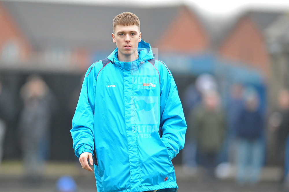 TELFORD COPYRIGHT MIKE SHERIDAN Henry Cowans during the Vanarama Conference North fixture between AFC Telford United and Farsley Celtic at The Citadel on Saturday, January 25, 2020.<br /> <br /> Picture credit: Mike Sheridan/Ultrapress<br /> <br /> MS201920-042