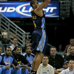 Dec 18, 2009; New Orleans, LA, USA;  Denver Nuggets guard Arron Afflalo (6) shoots against the New Orleans Hornets during the first half at the New Orleans Arena. Mandatory Credit: Derick E. Hingle-US PRESSWIRE