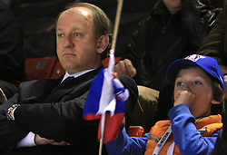 Damjan Mihevc and his son at ice-hockey game Slovenia vs Slovakia at second game in  Relegation  Round (group G) of IIHF WC 2008 in Halifax, on May 10, 2008 in Metro Center, Halifax, Nova Scotia, Canada. Slovakia won after penalty shots 4:3.  (Photo by Vid Ponikvar / Sportal Images)