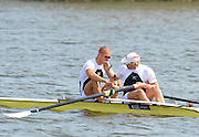 Caverham, Great Britain, Men's Pair. Bow, Mo SBIHI and Andy TRIGGS HODGES. congratulate each other after winning the final, Redgrave Pinsent Rowing Lake GB Rowing Senior U23 Trials at the GB Rowing centre. 12:42:26  Sunday  21/04/2013  [Mandatory Credit. Peter Spurrier/Intersport Images] GBRT Senior U23 Trails,