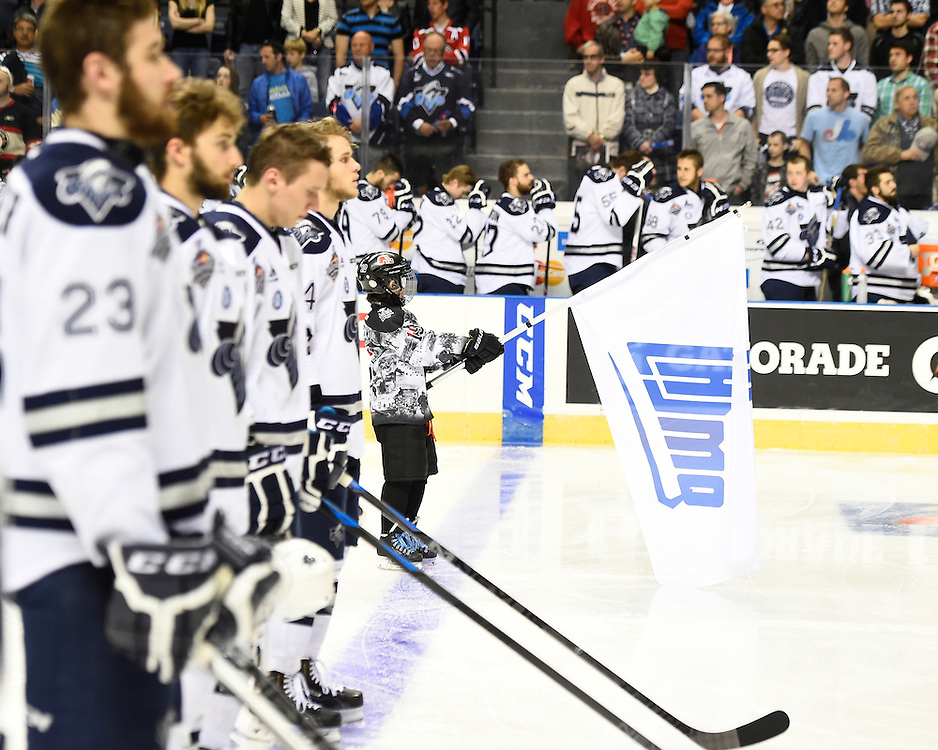 Game 2 action at the 2015 MasterCard Memorial Cup between the Oshawa Generals and Rimouski Oceanic at Pepsi Colisee in Quebec City on Saturday May 23, 2015. Photo by Aaron Bell/CHL Images