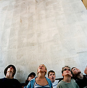 Pupils from Woolmer Hill School, Haslemere, Surrey, at the Sir Edward Lutyens designed Thiepval memorial, the largest British war memorial in the world ? there were more than 57,000 British casualties in a single day during the battle of the Somme. A teacher, said ?Children become aware that there is something out there beyond their own little lives.'.