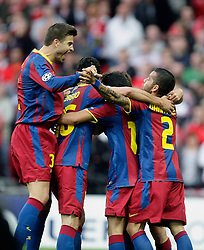 28.05.2011, Wembley Stadium, London, ENG, UEFA CHAMPIONSLEAGUE FINALE 2011, FC Barcelona (ESP) vs Manchester United (ENG), im Bild BARCELONA PLAYERS CELEBRATES Barcelona's David Villa   first GOAL of the evening    during  the UEFA  Champions League Final between Barcelona and Manchester United at the Wembley Stadium  in London    on 28/05/2011, EXPA Pictures © 2011, PhotoCredit: EXPA/ IPS/ M. Pozzetti *** ATTENTION *** UK AND FRANCE OUT!