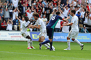 Swansea city's Michu © celebrates with Nathan Dyer after he scores his sides 2nd goal.  Barclays Premier league, Swansea city v Sunderland at the Liberty Stadium in Swansea, South Wales on Saturday 1st Sept 2012. pic by Andrew Orchard, Andrew Orchard sports photography,
