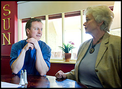Leader of the Conservative Party David Cameron with his mother  Mary after launching the  older people's manifesto at The Sun Inn in Coate, Swindon, during the 2010 general election campaign, Sunday April 18, 2010, Photo By Andrew Parsons
