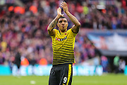 Watford's goalscorer Troy Deeney applauds the fans at the end of the match during the The FA Cup match between Crystal Palace and Watford at Wembley Stadium, London, England on 24 April 2016. Photo by Shane Healey.