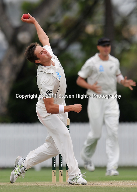 Trent Boult bowling from the Albion Park end during action from Day 3 of the Tour match between Australia A and New Zealand played at Allan Border Field from 24th - 27th November 2011~ Photo Credit Required : Steven Hight (AURA Images) ~ Editorial Use only in accordance with CA Terms & Conditions (2011-12)