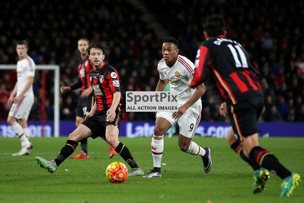 Anthony Martial of Manchester United chases down the ball During Bournemouth vs Manchester United on Saturday the 12th December 2015.