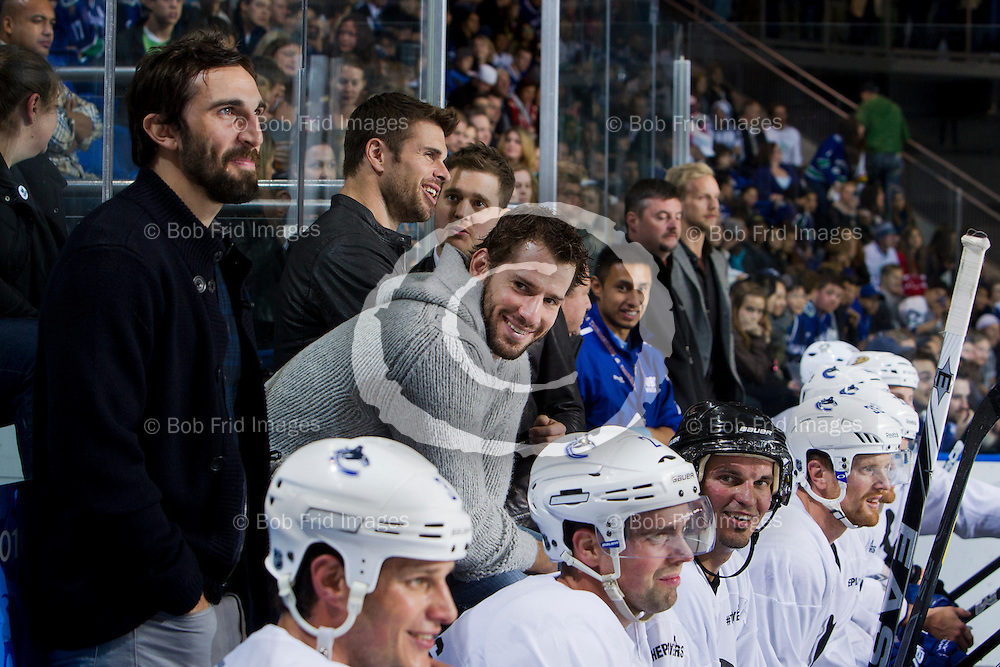17 October 2012:  Action during a Charity Hockey game between the University of British Columbia Thunderbirds and Kevin Bieksa's Buddies at Mitchell Arena, University of British Columbia, Vancouver, BC, Canada.    ****(Photo by Bob Frid/UBC Athletics) 2012 All Rights Reserved****