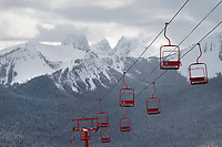 Gibson Pass ski lift. Hozomeen Mountain is in the background. Manning Provincial Park