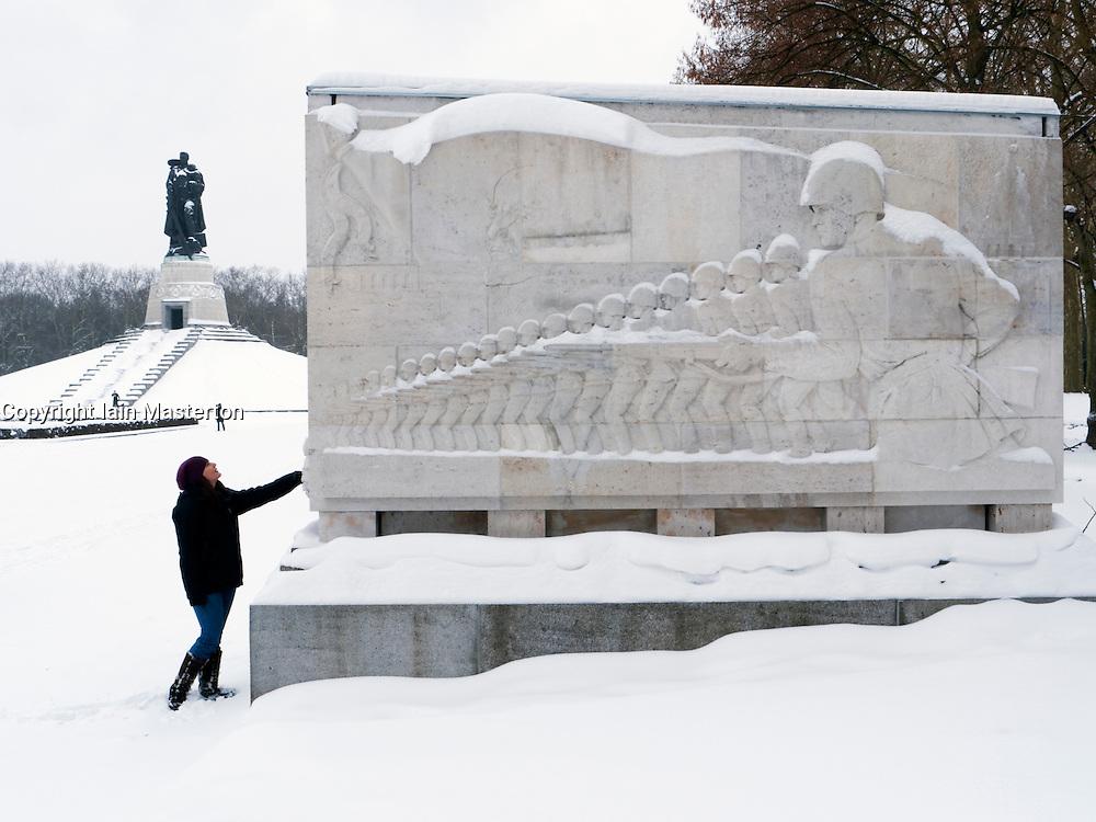 Soviet War memorial in Treptower Park Berlin in the snow in winter 20010