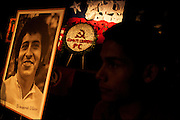 A photography of Victor Jara is guarded by an honor guard.<br /> After 36 years, Chile's most popular folk singer, Victor Jara was mourned and buried. About 10.000 people attended to his vigil and funeral. Victor Jara was assassinated on September 15 1973 by Pinochet`s military officials of at least 43 gunshots and massive beatings. His 1973 funeral had to be made in private because of military restrictions.