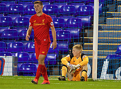 BIRKENHEAD, ENGLAND - Wednesday, September 28, 2016: Liverpool's goalkeeper Caoimhin Kelleher looks dejected as Wolfsburg score an injury time winning goal to seal a 2-1 victory during the Premier League International Cup match at Prenton Park. (Pic by David Rawcliffe/Propaganda)