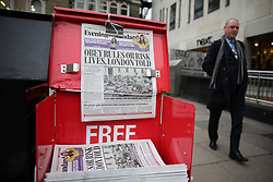 © Licensed to London News Pictures. 19/03/2020. London, UK. The Evening Standard newspaper carries a headline warning Londoners to obey public health advice as the Coronavirus escalated in the capital. Photo credit: Rob Pinney/LNP