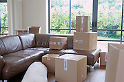 Cardboard boxes in living room of new home