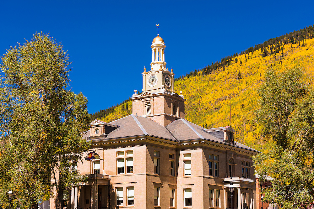 Historic courthouse and fall color, Silverton, Colorado USA