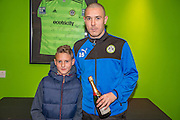 Forest Green Rovers Liam Noble(15) presented with the MOM award by Morgan representing Match sponsors Grundon during the Vanarama National League match between Forest Green Rovers and Dover Athletic at the New Lawn, Forest Green, United Kingdom on 17 December 2016. Photo by Shane Healey.