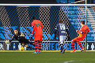 Lukas Jutkiewicz of Bolton Wanderers (right) has a penalty saved by David Forde of Millwall during the Sky Bet Championship match at The Den, London<br /> Picture by David Horn/Focus Images Ltd +44 7545 970036<br /> 15/02/2014