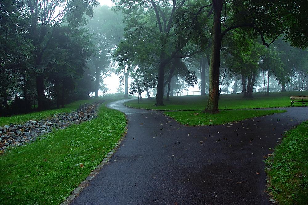 Von Briesen Park, Staten Island, NY, United States, park, path, mist, fog, uphill