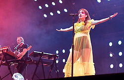 "Chvrches, Love Is Dead Tour, Glasgow Hydro, Saturday 16th February 2019<br /> <br /> Scottish band Chvrches performed at the SSE Hydro in Glasgow as part of their ""Love Is Dead"" tour celebrating their third album of the same name.<br /> <br /> The band consists of Lauren Mayberry (singer), Iain Cook (synthesizers and guitars) and Martin Doherty (synthesizers)<br /> <br /> Pictured: Lauren Mayberry and Martin Doherty<br /> <br /> Aimee Todd 