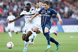 29.09.2012, Stade de Parc des Princes, Paris, FRA, Ligue 1, Paris St. Germain vs FC Sochaux, 7. Runde, im Bild KEVIN GAMEIRO (PARIS SAINT-GERMAIN), JEROME ROUSSILLON (SOCHAUX) // during the French Ligue 1 7th round match between Paris St. Germain and FC Sochaux at the Stade de Parc des Princes, Paris, France on 2012/09/29. EXPA Pictures © 2012, PhotoCredit: EXPA/ PicAgency Skycam/ Chris Elise..***** ATTENTION - OUT OF SWE *****