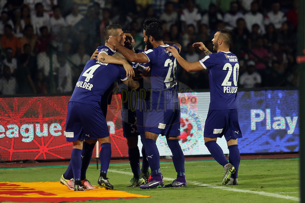Chennaihyin fc team celebrating goal against Northeast united fc  during match 18 of the Indian Super League (ISL) season 3 between NorthEast United FC and Chennaiyin FC held at the Indira Gandhi Athletic Stadium in Guwahati, India on the 20th October 2016.<br /> <br /> Photo by Rahul Goyal / ISL/ SPORTZPICS
