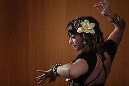 USA, Oregon, Eugene, Belly Dancer dancing. MR