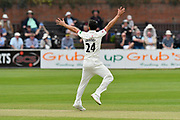 Wicket - Lewis Gregory of Somerset appeals then celebrates taking the wicket of Joe Clarke of Worcestershire during the Specsavers County Champ Div 1 match between Somerset County Cricket Club and Worcestershire County Cricket Club at the Cooper Associates County Ground, Taunton, United Kingdom on 22 April 2018. Picture by Graham Hunt.
