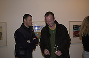 Lorcan O'Neill and Johnny Shand Kydd. Francesco Clemente private view. Anthony d'Offay . London. 1 March 2001. © Copyright Photograph by Dafydd Jones 66 Stockwell Park Rd. London SW9 0DA Tel 020 7733 0108 www.dafjones.com