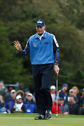 Feb 11, 2012; Pebble Beach CA, USA; Jim Furyk reacts after putting for birdie on the third hole during the third round of the AT&T Pebble Beach Pro-Am at Pebble Beach Golf Links. Mandatory Credit: Jason O. Watson-US PRESSWIRE