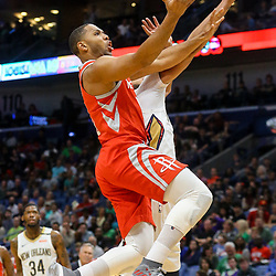 Mar 17, 2018; New Orleans, LA, USA; Houston Rockets guard Eric Gordon (10) shoots over New Orleans Pelicans forward Anthony Davis (23) during the first quarter at the Smoothie King Center. Mandatory Credit: Derick E. Hingle-USA TODAY Sports