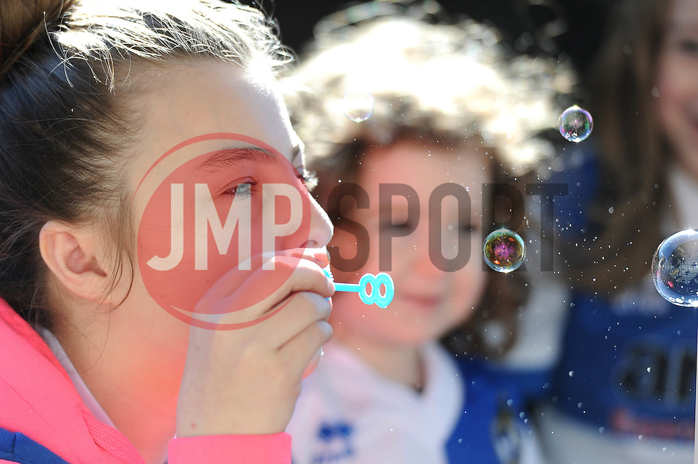 Bristol Rovers fan blowing bubbles - Photo mandatory by-line: Dougie Allward/JMP - Mobile: 07966 386802 - 31/03/2015 - SPORT - Football - Bristol - Memorial Stadium - Vanarama Football Conference - Bristol Rovers Open Training Session