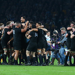 LONDON, ENGLAND - OCTOBER 31: The All Black during the Rugby World Cup Final match between New Zealand vs Australia Final, Twickenham, London on October 31, 2015 in London, England. (Photo by Steve Haag)