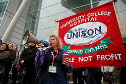 © Licensed to London News Pictures. 13/10/2014. LONDON, UK. Staff of University College Hospital in London joining a four-hour NHS strike in a picket line, which involves nurses, midwives and ambulance staff in England in a dispute over pay. Photo credit : Tolga Akmen/LNP