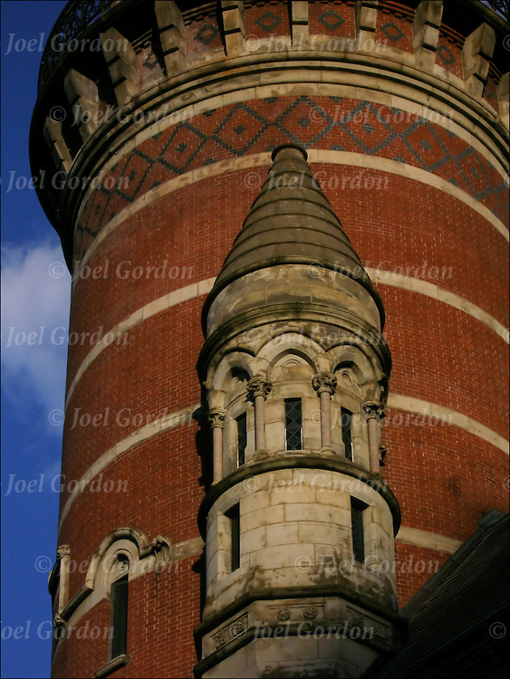 Victorian Gothic architectural style of the Jefferson Market Library in Greenwich Village which is a New York City Landmark. Photo taken before sunset in June.