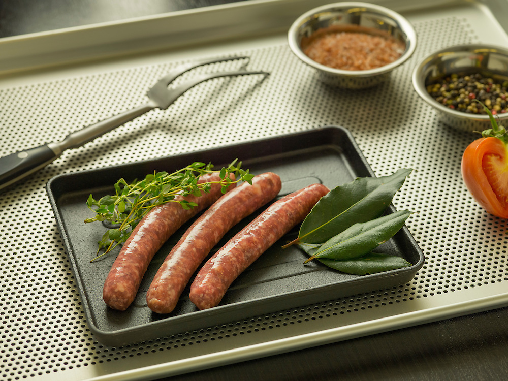 Chipolatas. La Boucherie meat products catalog on 25 May 2016 in Hong Kong, China. Photo by Lucas Schifres / Illume Visuals