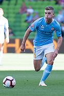 MELBOURNE, VICTORIA - JANUARY 06: Melbourne City midfielder Riley McGree (8) runs the ball at the Hyundai A-League Round 11 soccer match between Melbourne City FC and Newcastle Jets on at AAMI Park in NSW, Australia 06 January 2019. (Photo by Speed Media/Icon Sportswire)