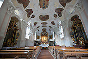 Wallfahrtskirche Maria Gern, Roman Catholic church, aisle and altar at Berchtesgaden in Bavaria, Germany