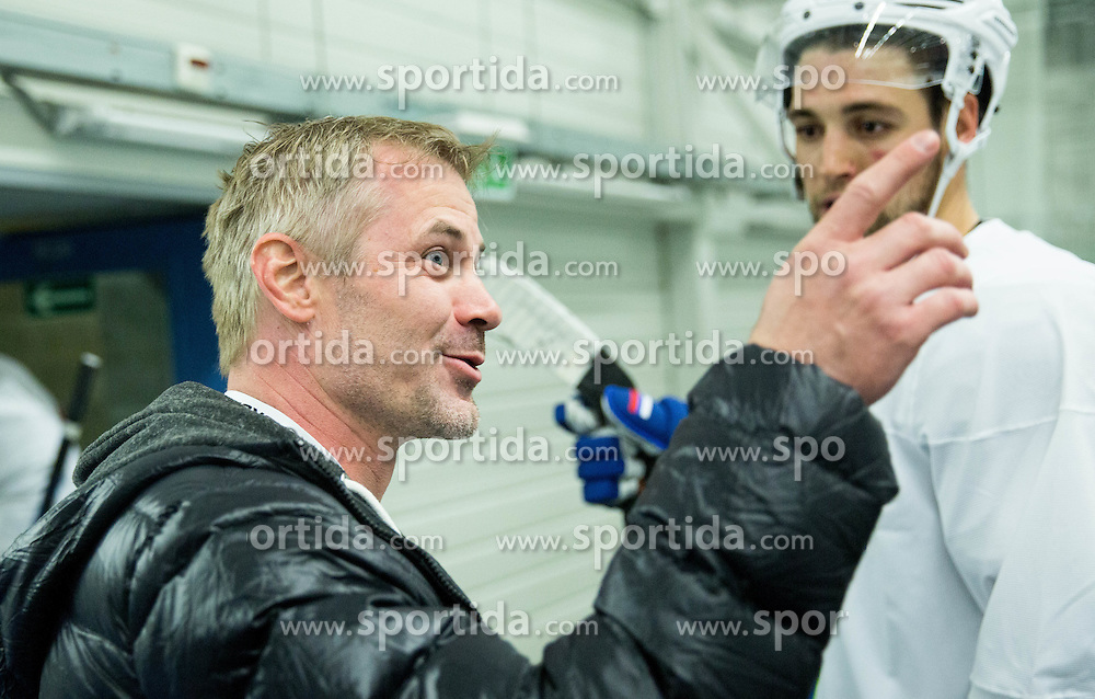 Ivo Jan and Ziga Pance of Slovenia during practice session of Slovenian National Ice Hockey Team 1 day prior to the 2015 IIHF World Championship in Czech Republic, on April 30, 2015 in Practice arena Ostrava, Czech Republic. Photo by Vid Ponikvar / Sportida