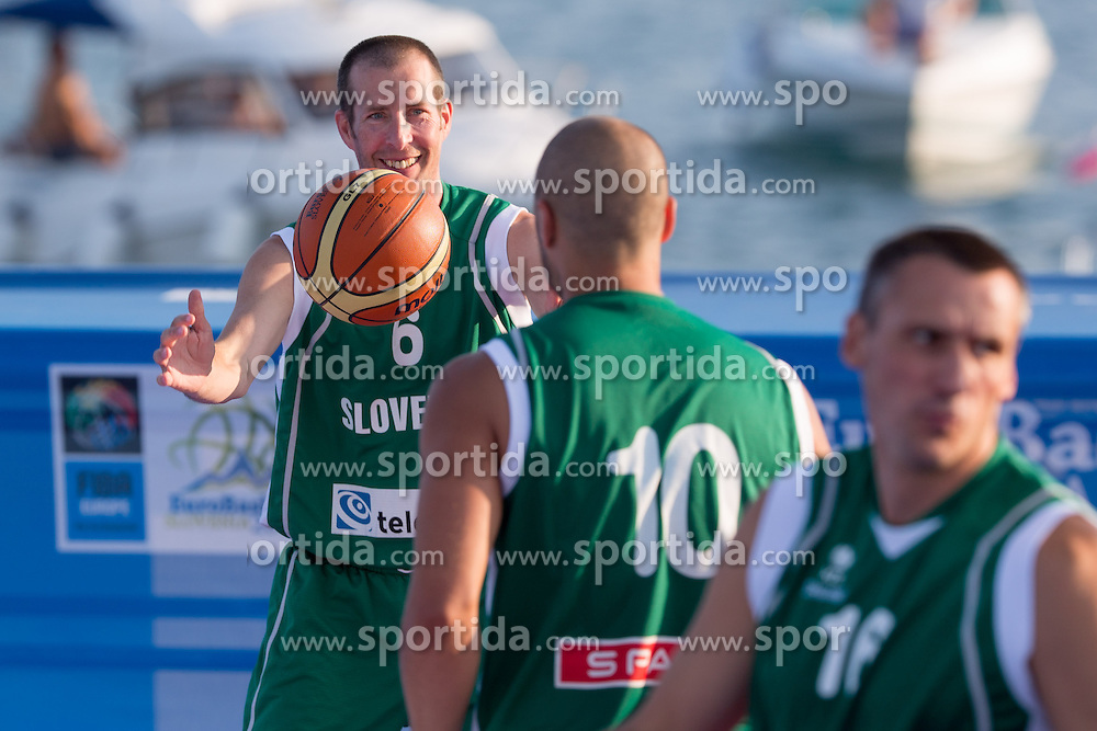Jaka Daneu of Slovenia during exhibition match between Croatia, Italy and Slovenia at Eurobasket 2013 promotion Basketball on sea raft on August 24, 2013, Koper, Slovenia. (Photo by Matic Klansek Velej / Sportida.com)