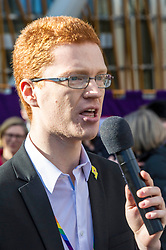 Pictured: Ross Greer , Scottish Green Party<br /> University pensions row rally was held outside the Scottish Parliament in Edinburgh today. University staff were joined by politicians and students as part of the strike action event. <br /> <br /> Ger Harley | EEm 8 March 2018