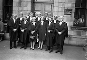26/07/1967<br /> 07/26/1967<br /> 26 July 1967<br /> Calls to the Bar at the Four Courts, Dublin. A group shot of those called to the Bar. Not all included in image: Cornelius Kehily, Scrahane, Enniskeane, Co. Cork; George Brady, &quot;Villa Rapallo&quot;, Nutley Lane, Dublin; Marie Teresa Bourke, Victoria House, Ballina; Daniel Finbarr Sullivan, Keal Kill, Bantry; Caroline Elizabeth Kenny, B.C.L., Wyattville, Ballybrack, Co. Dublin; Denis A. O'Donovan, St. Anthonys, 90 Lower Churchtown Road; Patrick H. Hegarty, Kevinfort, Co. Sligo; Dermot Joseph McNulty, Phibsboro Road, Dublin; Daniel Nicholas Herbert, Cahir, Co. Tipperary; Paul Ronan Dempsey, Nenagh, Co. Tipperary; John Donnelly, St. Marys, Cowper Road, Dublin; Cornelius T. Buckley, Montrose, Thormanby Road, Howth; John Anthony Boland, Cullenswood Gardens, Ranelagh, Dublin and Vijay Kumar Arora. Matura City, India.