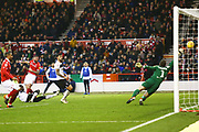 Nottingham Forest forward Daryl Murphy (9) shoots at goal during the EFL Sky Bet Championship match between Nottingham Forest and Bristol City at the City Ground, Nottingham, England on 19 January 2019.