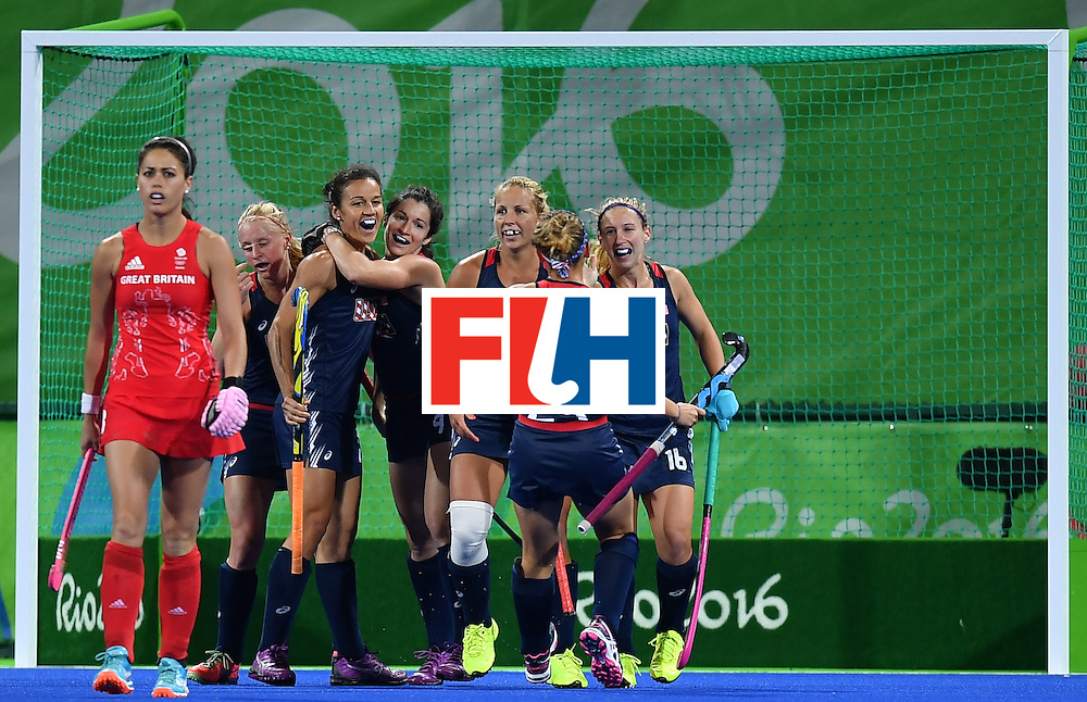 US players celebrates scoring during the women's field hockey Britain vs the USA match of the Rio 2016 Olympics Games at the Olympic Hockey Centre in Rio de Janeiro on August, 13 2016. / AFP / MANAN VATSYAYANA        (Photo credit should read MANAN VATSYAYANA/AFP/Getty Images)