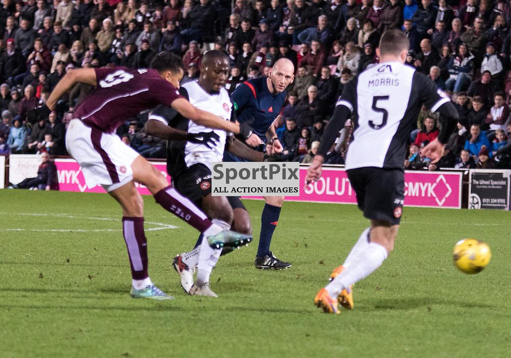 Heart of Midlothian's Osman Sow gets a shot on goal......(c) MARK INGRAM | SportPix.org.uk
