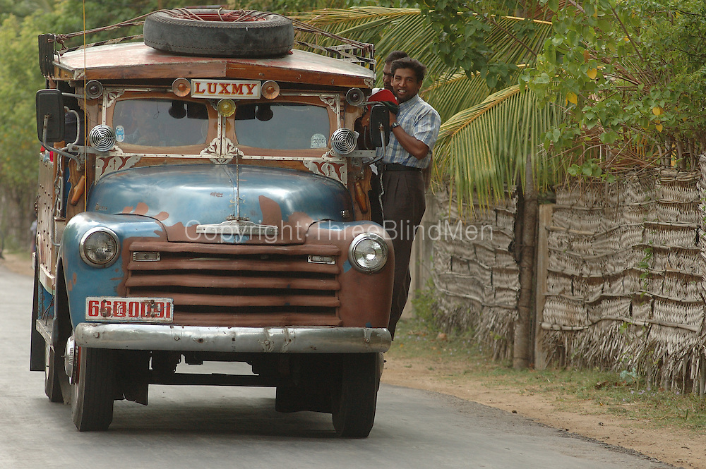 An old Chevrolet truck called 'Luxmy' used as a private bus on the Jaffna Peninsula. 2004