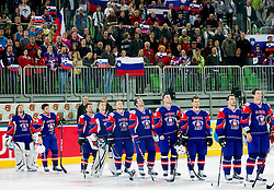 Players of Slovenia listening to the national anthem after winning the ice-hockey match between Great Britain and Slovenia at IIHF World Championship DIV. I Group A Slovenia 2012, on April 15, 2012 in Arena Stozice, Ljubljana, Slovenia. Slovenia defeated Great Britain 3-2. (Photo by Vid Ponikvar / Sportida.com)