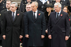 © Licensed to London News Pictures. 12/11/2017. London, UK. Former British Prime Ministers GORDON BROWN, TONY BLAIR and JOHN MAJOR attend a Day Ceremony at the Cenotaph war memorial in London, United Kingdom, on November 13, 2016 . Thousands of people honour the war dead by gathering at the iconic memorial to lay wreaths and observe two minutes silence. Photo credit: Ray Tang/LNP