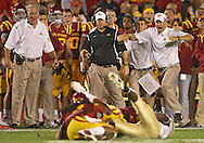 September 26, 2009: Iowa State head coach Paul Rhoads reacts to a fumble on a play during the second half of the Iowa State Cyclones' 31-10 win over the Army Black Knights at Jack Trice Stadium in Ames, Iowa on September 26, 2009.